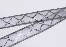 Лента капрон с пайетками 2-слойная, 25 мм, Серая