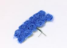 Букетик розочек с фатином 12 штук, размер розы 2 см.. Синие