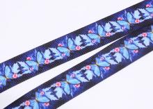 Репсовая лента Бабочки на темно-синем, 25 мм