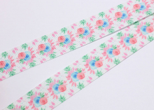 Репсовая лента Букетики цветов, 25 мм