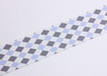 Репсовая лента Ромбы сине-серые, 38 мм