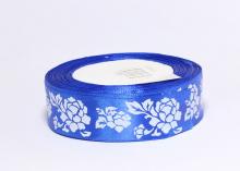 Атласная лента Розы на синем, 25 мм