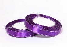 Атласная лента с люрексом 12мм, фиолетовый СЕРЕБРО