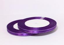 Лента атласная с люрексом, Фиолетовая Серебро, (25 ярдов), 6 мм