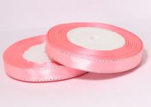 Атласная лента с люрексом 12мм, Розовый СЕРЕБРО