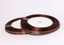 Лента атласная с люрексом, Коричневая Серебро, (25 ярдов), 6 мм