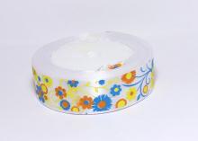Лента атласная Цветы на белом, 25 мм
