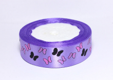 Лента атласная Бабочки на сиреневом, 25 мм