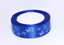 Лента атласная Бабочки в полоску на синем, 25 мм