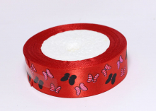 Лента атлас Бабочки в полоску на красном, 25 мм