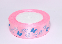 Лента атлас Бабочки в полоску на розовом, 25 мм