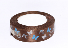 Лента атлас Бабочки в полоску на коричневом, 25 мм