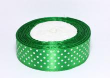 Лента атласная горох белый на зеленом, 25 мм