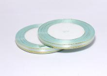 Лента атласная с люрексом, Светло-голубой Золото (25 ярдов), 6 мм