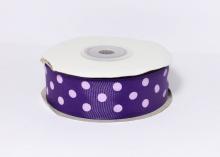 Репсовая лента горох крупный Фиолетовая, 25 мм