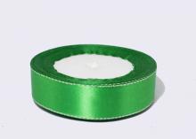 Лента атласная люрекс серебро, Зеленая, 25 мм