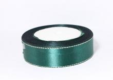 Лента атласная люрекс серебро, Изумруд, 25 мм