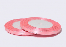 Лента атласная с люрексом, Розовая Серебро, (25 ярдов), 6 мм