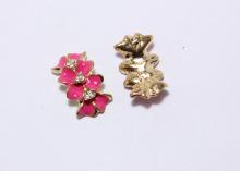 Пряжка с цветами и стразами, Ярко-розовая, 21х14 мм