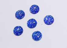 Кабошон круглый, блестящий. Синий, 12 мм
