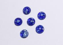 Кабошон пластик круглый, Синий с блестками, 12 мм