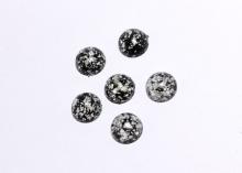 Кабошон пластик круглый, Черный с блестками, 12 мм