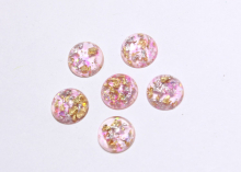Кабошон пластик круглый, Розовый с блестками, 12 мм