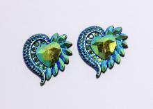 Кабошон пластик Сердце, Темно-синий, 32 мм