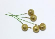 Муляж вишни на черешке 1,5 см. золотой глиттер