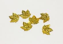 Пайетки пришивные Лист клена, голограмма золотые, 22*13 мм