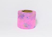 Фатин со снежинками 5,5 см. Ярко-розовый