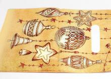 Пакет подарочный Бежевый новогодние игрушки 20х30 см
