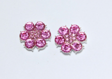 Кабошон Цветок из цветных страз, Розовый, 24 мм