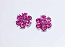 Кабошон Цветок из цветных страз, Ярко-розовый, 24 мм