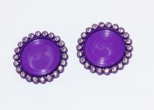 Крышка пластиковая со стразами, внутренний диаметр 25 мм, Фиолетовая