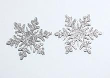 Снежинка из блестящего фетра, 5 см, Серебро