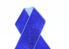 Лента бархатная, 4 см, Синяя