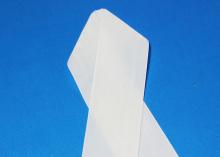 Лента бархатная, 4 см, Белая