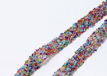 Лента разноцветные бусины на силиконе, 13 мм