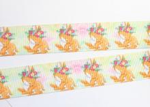 Репсовая лента Олененок цветы, 25 мм