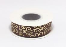 Репсовая лента Коричневая Завитки круглые золото, 25 мм