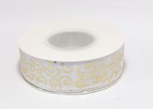 Репсовая лента Белая Завитки круглые золото, 25 мм