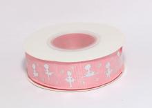 Репсовая лента Серебряные балерины на розовом, 25 мм