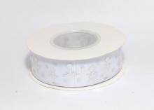 Репсовая лента Серебряные балерины на белом, 25 мм