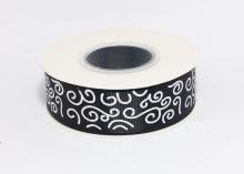 Репсовая лента Черная Завитки круглые серебро, 25 мм
