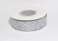 Репсовая лента Серая Завитки круглые серебро, 25 мм
