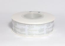 Репсовая лента Принцесса короны на белом, 25 мм