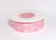 Репсовая лента Принцесса короны на розовом, 25 мм