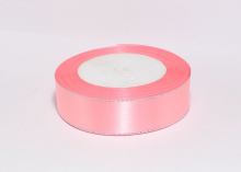 Атласная лента с люрексом, розовый серебро 89, 25 мм