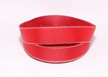 Репсовая с люрексом серебро, Красная-250, 25 мм